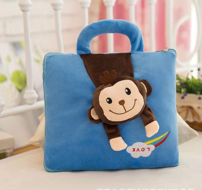 Bộ chăn gối hình khỉ siêu dễ thương ( Xanh)